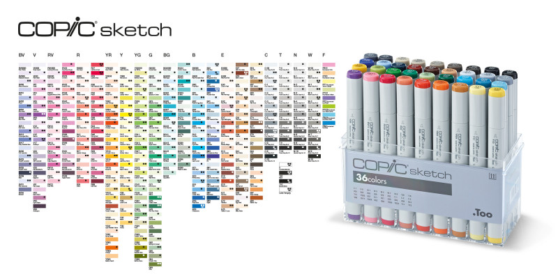 COPIC Farbkarte mit COPIC Sketch Set